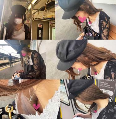 [電車・胸チラ]デート前のオシャレさんの乳首が見えてます[顔有]