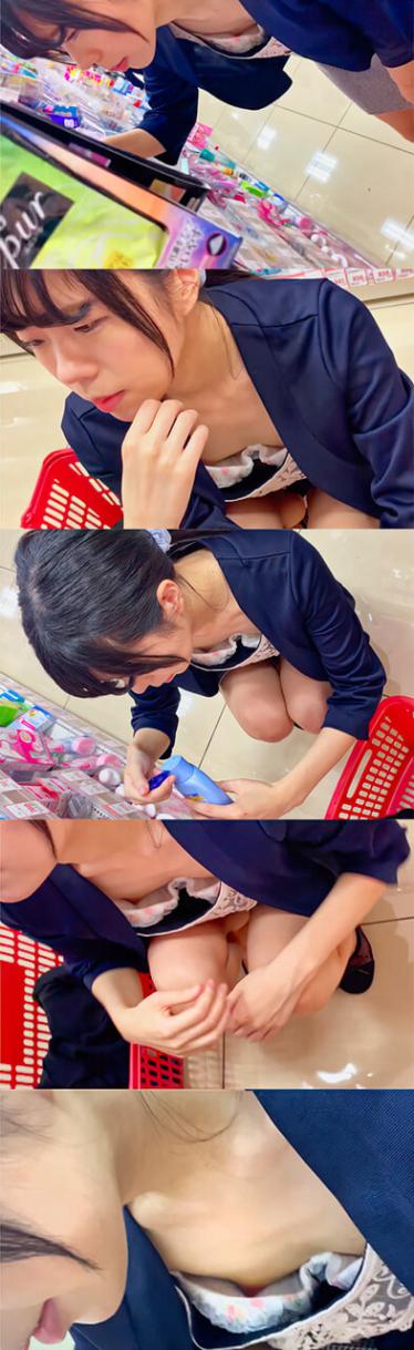 【乳首ちら】ドラッグストアで買い物中のお姉さんの浮きブラをこっそり撮影