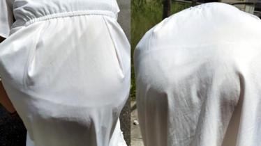 【素人追跡街撮り】どう見てもパンティーが透けちゃってるプリプリ尻の女の子を追っかけてみました!!