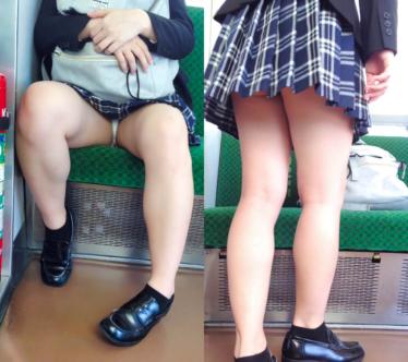 下品でエグすぎる大開脚…電車対面のド淫乱JKの股間をしっかり撮影♡ その1